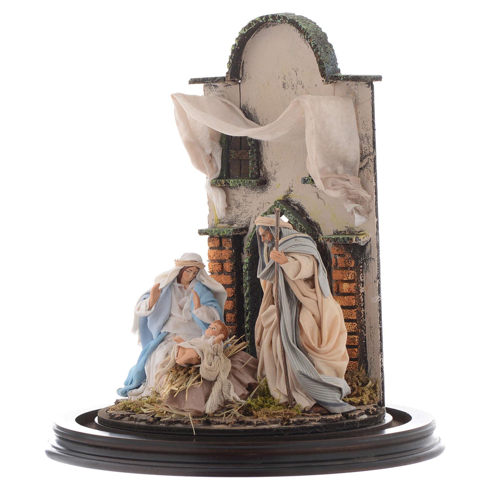 Natività presepe Napoli 30x25 cm con cupola vetro in stile arabo 4
