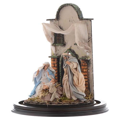 Natività presepe Napoli 30x25 cm con cupola vetro in stile arabo 3