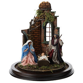 Neapolitan nativity scene on a wooden base with a glass domed roof s2