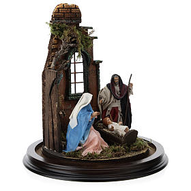 Neapolitan nativity scene on a wooden base with a glass domed roof s4