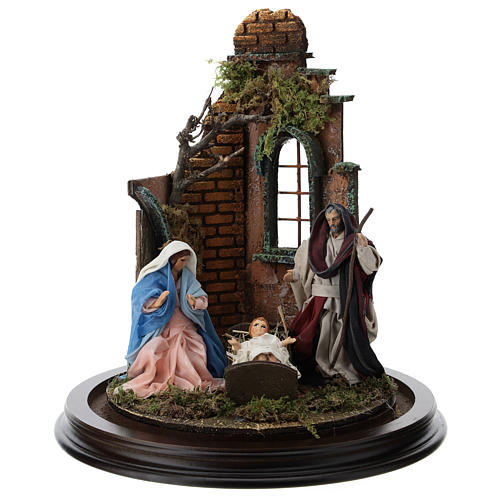 Neapolitan nativity scene on a wooden base with a glass domed roof 2