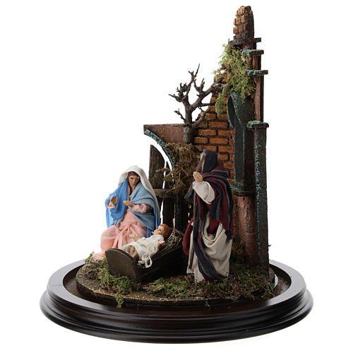 Neapolitan nativity scene on a wooden base with a glass domed roof 3