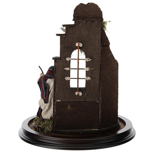 Neapolitan nativity scene on a wooden base with a glass domed roof 5
