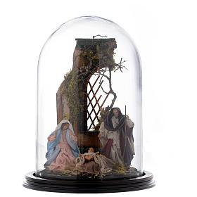Scena natività presepe napoletano su base legno e cupola di vetro s1