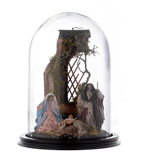 Scena natività presepe napoletano su base legno e cupola di vetro 1