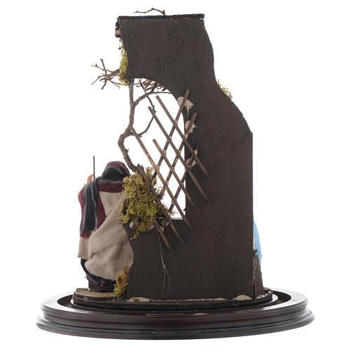 Scena natività presepe napoletano su base legno e cupola di vetro 5