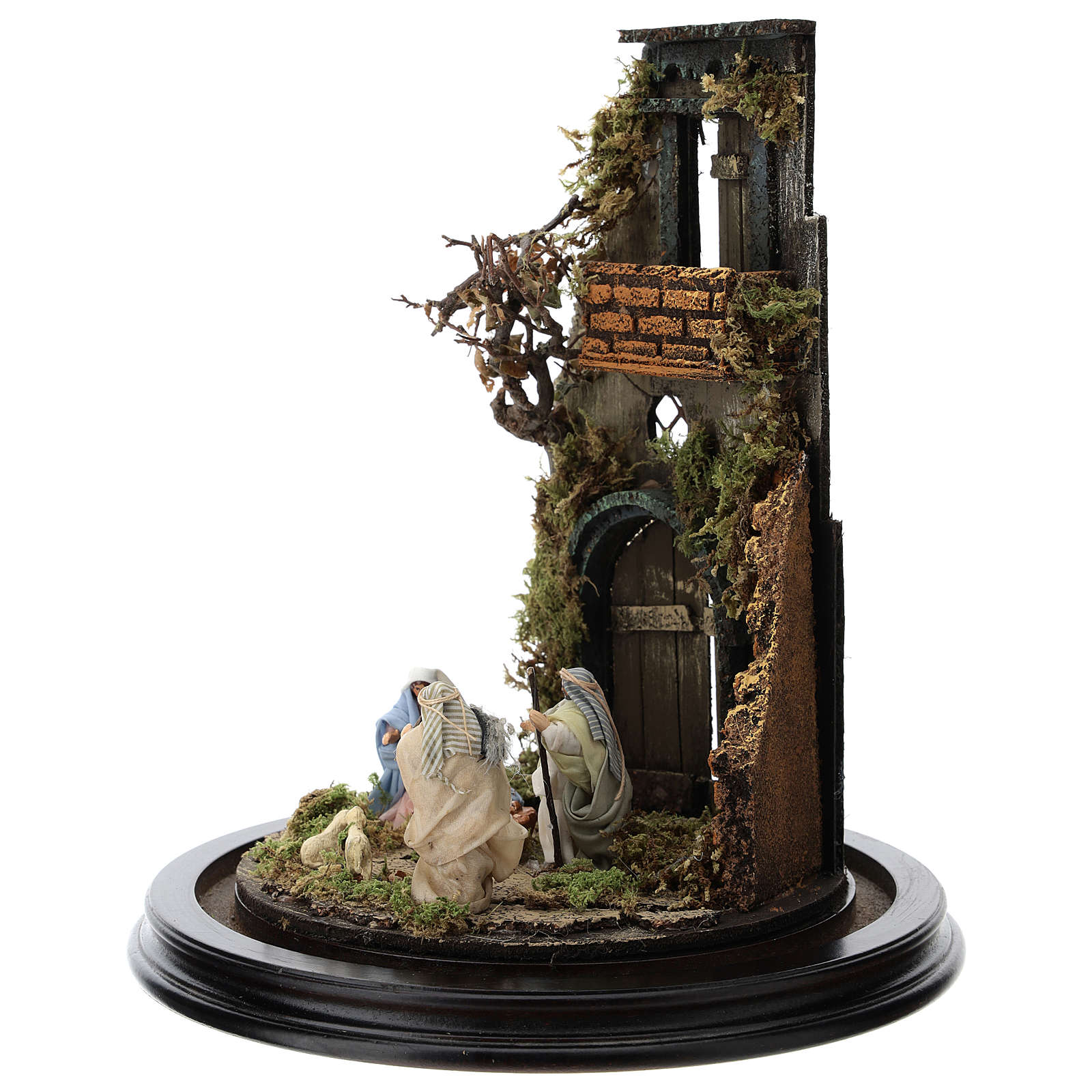 Escena pesebre Sagrada Familia campana vidrio base madera 25 cm Belén Napolitano 4