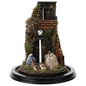 Escena pesebre Sagrada Familia campana vidrio base madera 25 cm Belén Napolitano s2