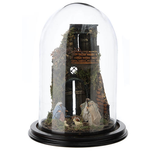 Escena pesebre Sagrada Familia campana vidrio base madera 25 cm Belén Napolitano 1