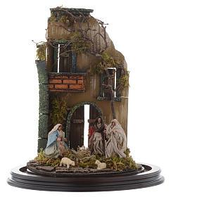 Scena natività con cupola e base legno 30x25 cm presepe napoletano s2