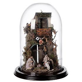 Scena natività con cupola e base legno 30x25 cm presepe napoletano s1