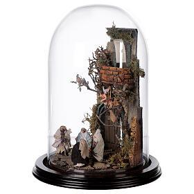 Scena natività con cupola e base legno 30x25 cm presepe napoletano s3