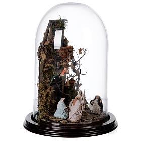 Scena natività con cupola e base legno 30x25 cm presepe napoletano s4