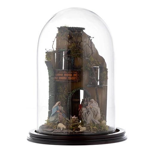 Scena natività con cupola e base legno 30x25 cm presepe napoletano 1