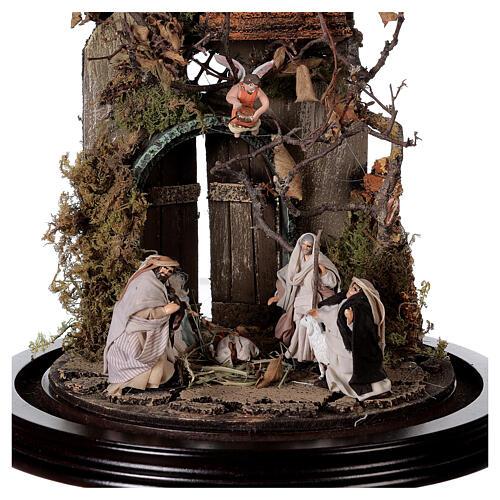 Scena natività con cupola e base legno 30x25 cm presepe napoletano 2