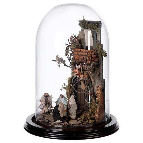Scena natività con cupola e base legno 30x25 cm presepe napoletano 3