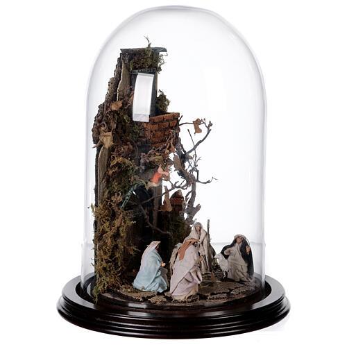 Scena natività con cupola e base legno 30x25 cm presepe napoletano 4