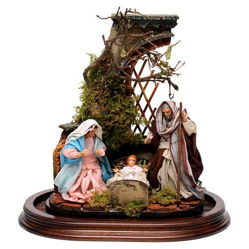 Sagrada Familia campana de vidrio en base de madera belén napolitano 2