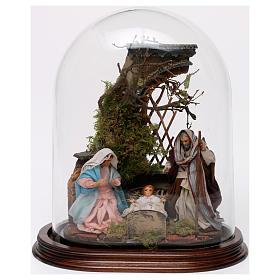 Natività in cupola di vetro su base legno presepe napoletano s1