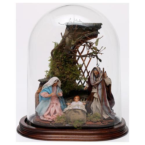 Natività in cupola di vetro su base legno presepe napoletano 1