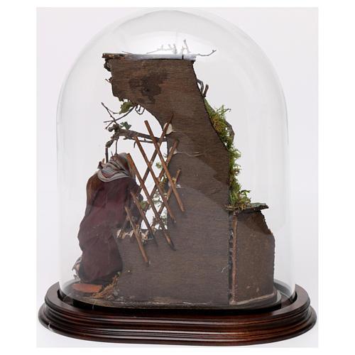 Natività in cupola di vetro su base legno presepe napoletano 3
