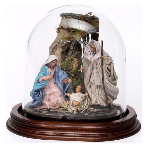 Holy Family in glass dome 17x15 cm 1