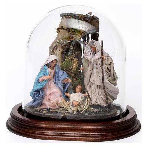 Trio nativité 15x15 cm avec cloche en verre crèche napolitaine 1