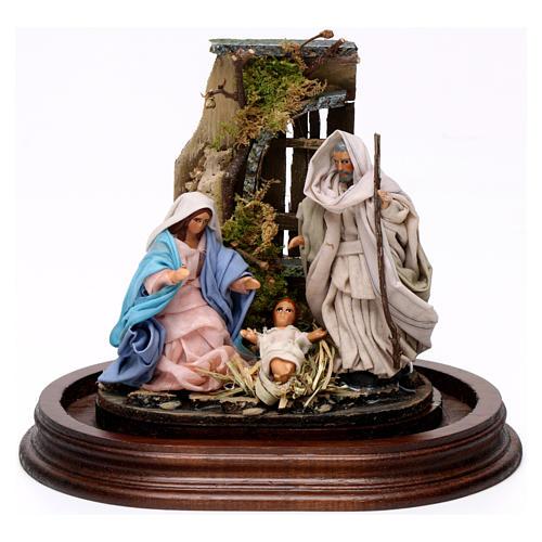 Trio nativité 15x15 cm avec cloche en verre crèche napolitaine 2