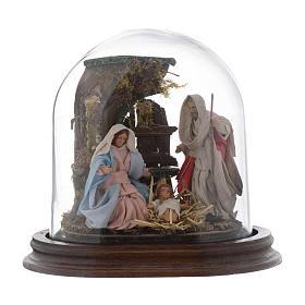 Trio natività 15x15 cm con cupola di vetro presepe napoletano s1