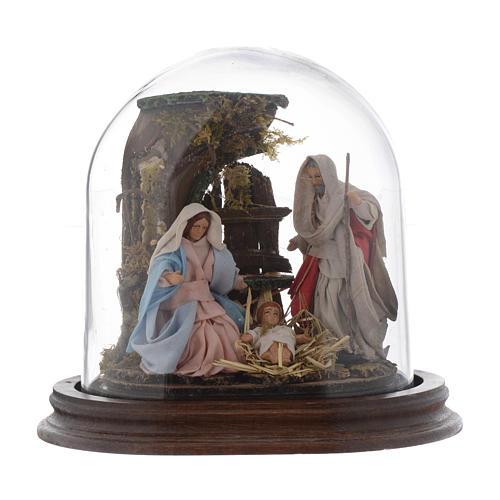 Trio natività 15x15 cm con cupola di vetro presepe napoletano 1