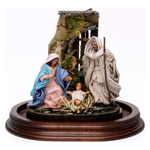 Trio natività 15x15 cm con cupola di vetro presepe napoletano 2