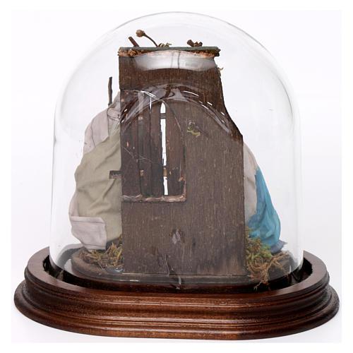 Trio natività 15x15 cm con cupola di vetro presepe napoletano 3