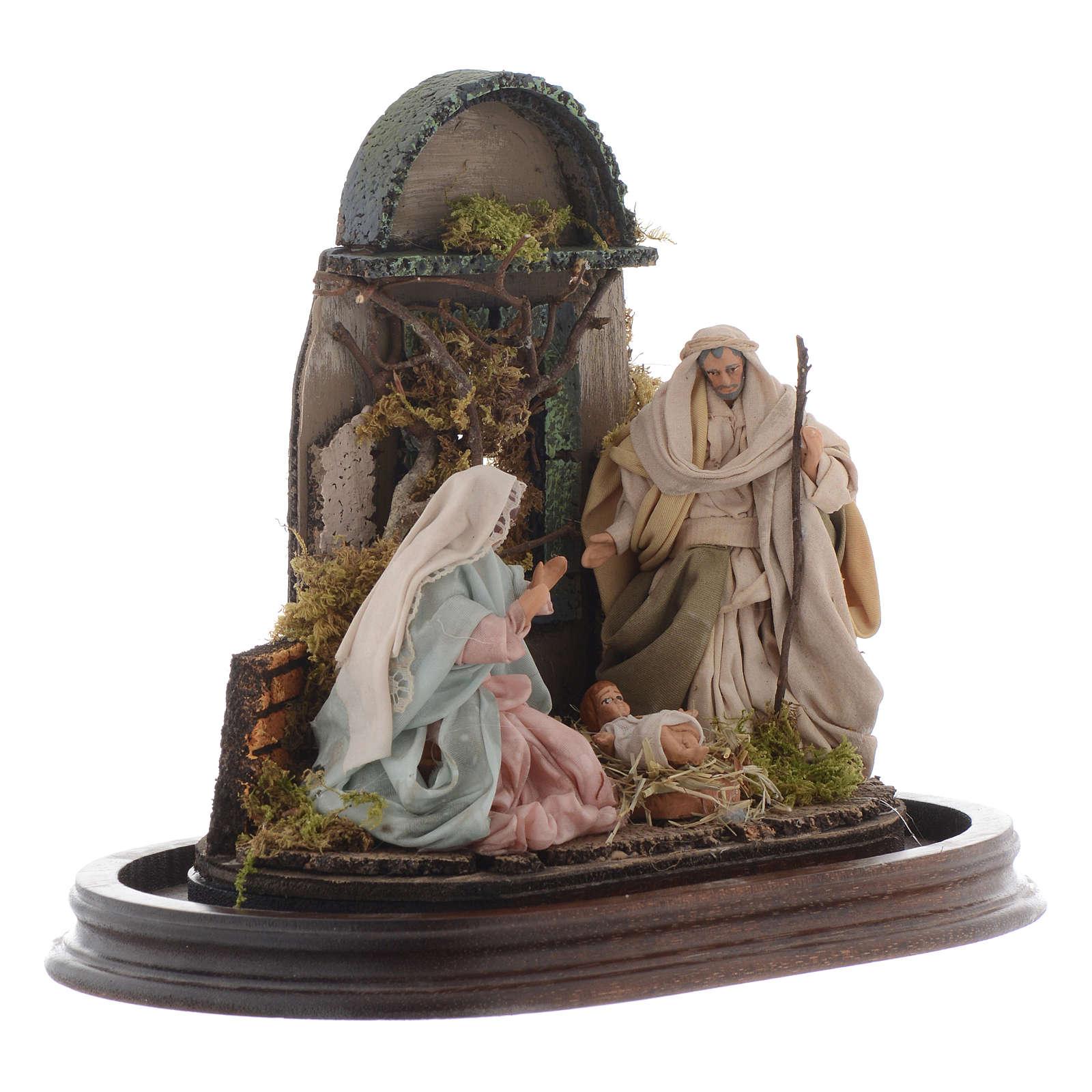 Neapolitan Nativity Scene Holy Family in glass dome 25x25 cm 4