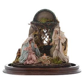 Neapolitan Nativity Scene Holy Family in glass dome 25x25 cm s2
