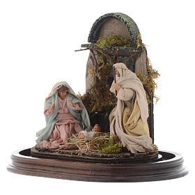 Neapolitan Nativity Scene Holy Family in glass dome 25x25 cm s3