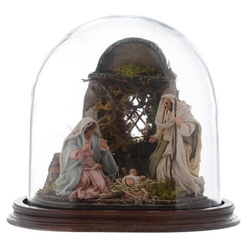 Neapolitan Nativity Scene Holy Family in glass dome 25x25 cm 1