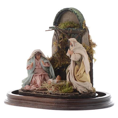 Neapolitan Nativity Scene Holy Family in glass dome 25x25 cm 3
