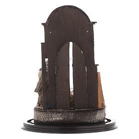 Trio nativité 45x30 cm avec cloche en verre crèche Naples s5