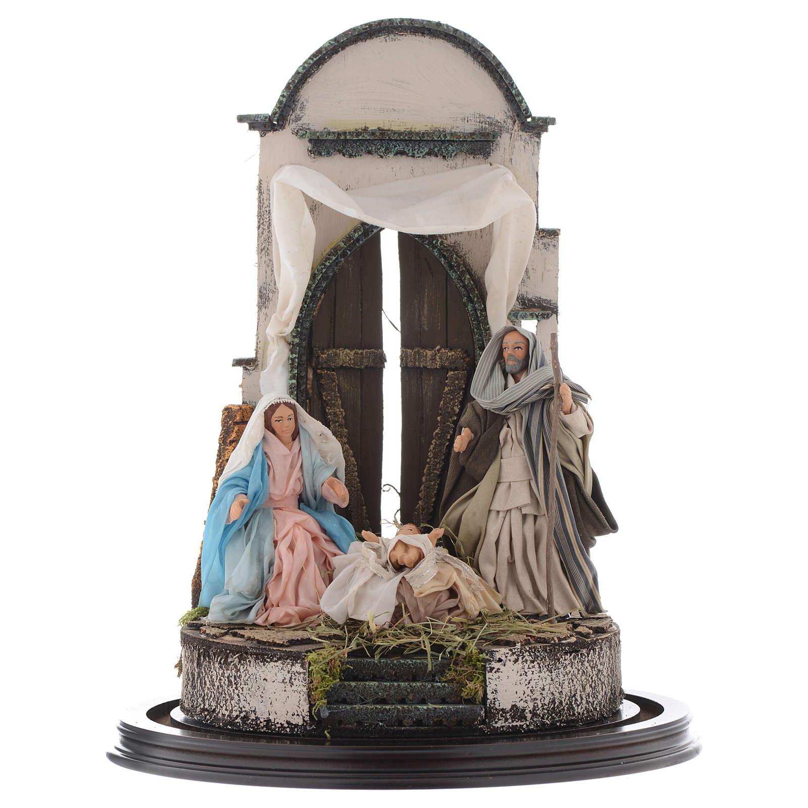 Trio natività 45x30 cm con cupola di vetro presepe Napoli 4