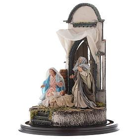 Trio natività 45x30 cm con cupola di vetro presepe Napoli s3