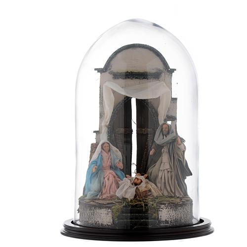 Trio natività 45x30 cm con cupola di vetro presepe Napoli 1