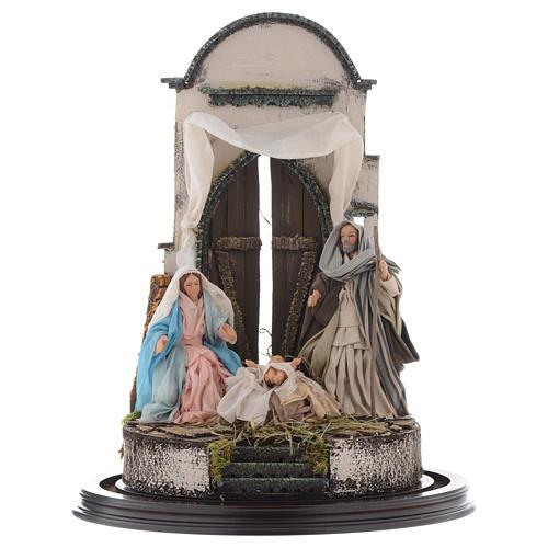 Trio natività 45x30 cm con cupola di vetro presepe Napoli 2