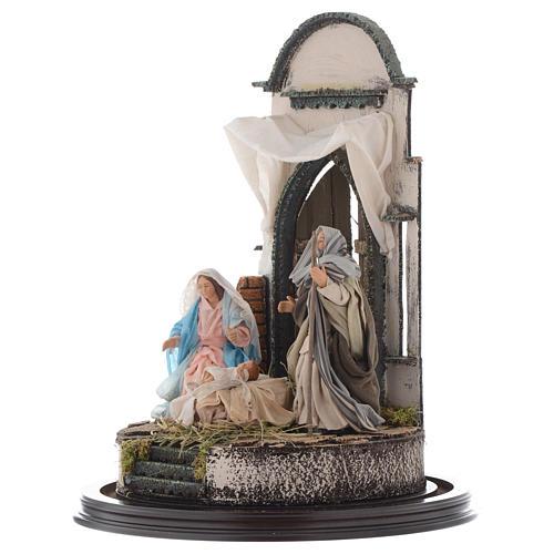 Trio natività 45x30 cm con cupola di vetro presepe Napoli 3