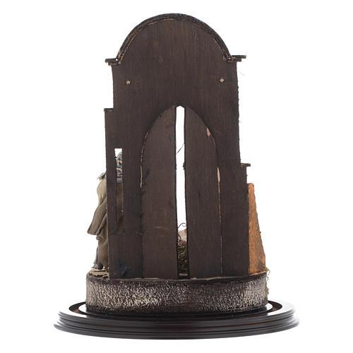 Trio natività 45x30 cm con cupola di vetro presepe Napoli 5