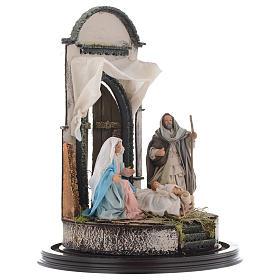Neapolitan Nativity Scene Holy Family in glass dome 45x30 cm s4