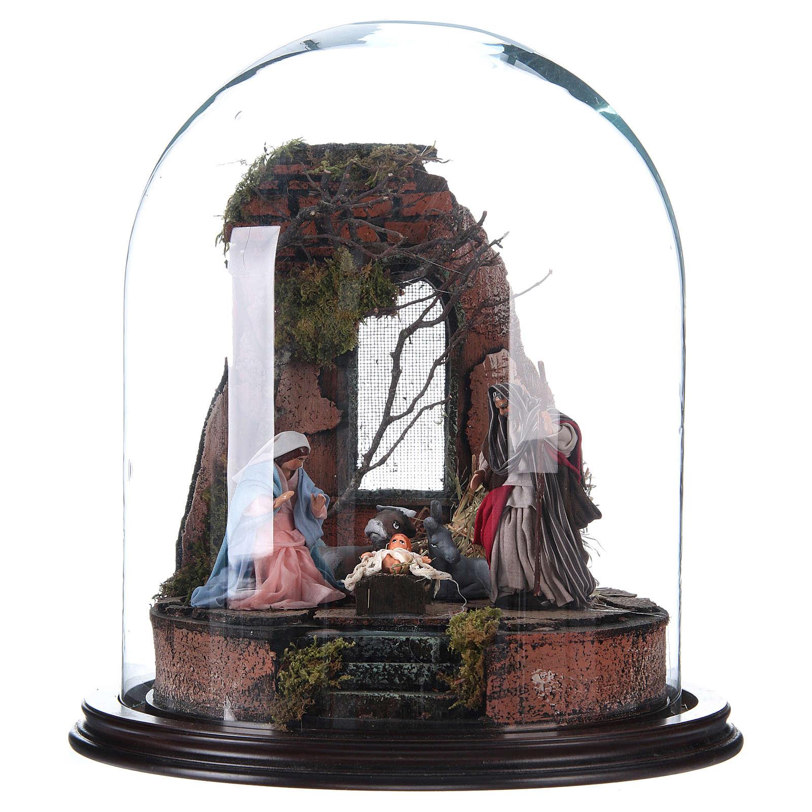 Trio natività presepe napoletano con cupola di vetro 30x30 cm stile arabo 4