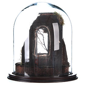 Trio natività presepe napoletano con cupola di vetro 30x30 cm stile arabo s3