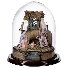 Trio natività presepe napoletano con cupola di vetro 30x30 cm stile arabo s1