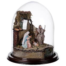 Trio natività presepe napoletano con cupola di vetro 30x30 cm stile arabo s4