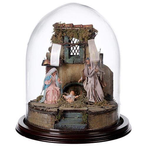 Trio natività presepe napoletano con cupola di vetro 30x30 cm stile arabo 1